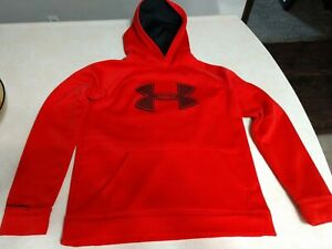 Under Armour Boys Youth Large Loose Storm Red Hoodie Sweatshirt