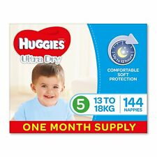 Huggies Ultra Dry Nappies,Boys,Size 5 Walker (13-18kg),144 Count, One-Month Supp