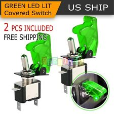 2PCS Green Cover LED Toggle Switch Racing SPST ON/OFF 20A ATV 12V for Car Truck