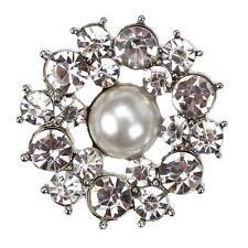 COPPIA di Firenze Diamante Argento Scarpa CLIP PERLA Crystal Fiore Sposa con Strass