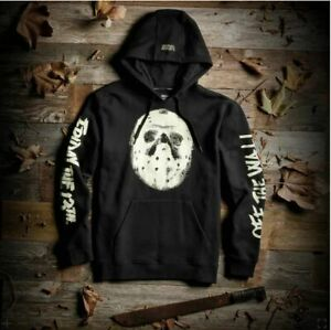 Rare Vans x Friday The 13th Jason Pullover Black Hoodie Glow in Dark Mens Sz S