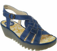 FLY London Leather Braided Front Wedge Sandals - Rini Blue EU 40 / US 9-9.5