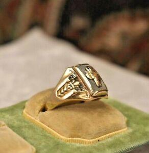 Antique men's 10K gold large 1936 class ring sz 9