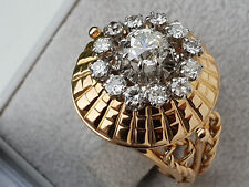 SOMPTUEUSE BAGUE OR  MASSIF 2 tons 18 CARATS / - DIAMANTS -  // Taille 51-