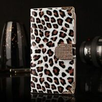 Luxury Bling Leopard Leather Wallet Magnetic Flip Cover Case For iPhone Samsung