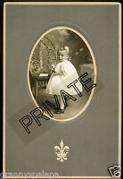 Antique Matted Photo - Cute Little Girl Standing by Table, Full Dress & Hair Bow