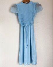 Vintage Baby Blue Chiffon Flutter Dress Small Short Sleeve Scallop Midi Retro