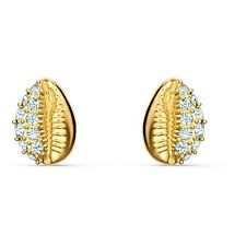 Swarovski Crystal Shell Stud Pierced Earrings, White, Gold-Tone Plated 5520471