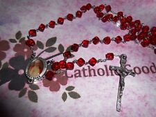 Pewter (8 mm Red Cubed Glass bead) - St John Paul II centerpiece -  Rosary