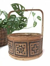 Bohemian Wicker Tribal Geometric Design Round Handled Plant Basket Black Natural
