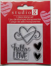 Hello Love Valentines Day Clear Acrylic Stamps Free Shipping Hampton Art Nip