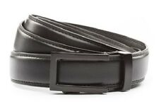 "Anson Belt & Buckle Mens 1.25"" Traditional black buckle with black leather strap"