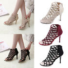 Women's Ladies Peep Toe Caged Party Stiletto High Heels Party Club Sandal Shoes