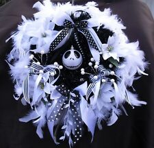 Nightmare Before Christmas Wreath Jack Skellington Wreath white feathers bauble