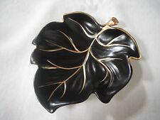 Carlton Ware Black and Gold Leaf Bon-Bon Dish - England