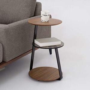 Home Coffee Table Rivet Side Table 3 Shelves Walnut/Glass Living Room Furniture