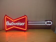 Vintage Budweiser Bow-Tie Guitar Neon Very Nice! Condition With Free Shipping
