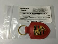 Porsche Red Leather Keyring  Key Ring Fob Genuine Metal Badge RRP £40.39