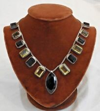 Vintage Sterling Silver Mid-Century Modern Colored Glass Necklace Made in India