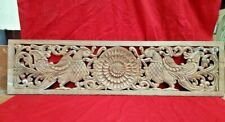 Antique Peacock Wall Wooden Panel Floral Carved Plaque Vintage Estate Home decor