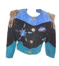 Womens Vtg Design Evening Fashion Collectors Suede Leather Crop Jacket sz 12 Y13