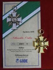 GÖDE Orden Sachsen 1850 - Albrechts Orden + Zertifikat Nr.6581