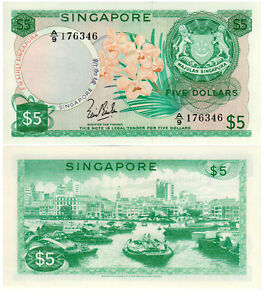 Singapore $5 P2a Flower Series Bradbury Wilkinson Mint UNC