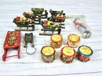 Vintage Wood Sleigh Drum Green Flower Shabby Chic Christmas Ornament Lot Taiwan