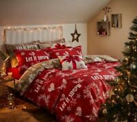 Catherine Lansfield Christmas Garland Red Snowflakes Christmas Duvet Cover Set