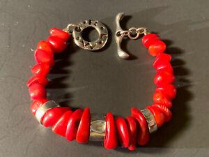 """Robert Lee Morris Sterling Silver Red Coral Stranded Bracelet 7 3/4"""" Length"""