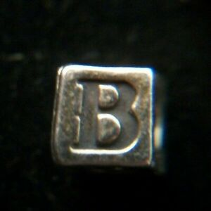 """3mm Sterling Silver Alphabet Cube Letter, """"B"""", Very nice, FREE SHIPPING"""