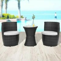 vidaXL Garden Furniture Set 5 Piece Poly Rattan Wicker Black Outdoor Dining