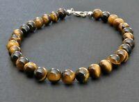 Spiritual Beads 6mm Tigers Eye 925 Sterling Silver Clasp mens bracelet  NEW