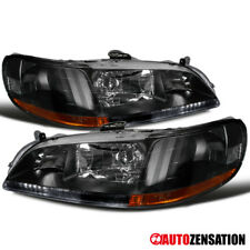 Fit 98-02 Honda Accord 2Dr 4Dr Black Diamond Headlights Left+Right