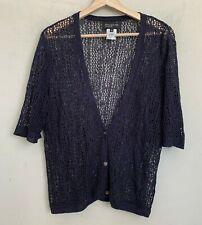 Jones NY Collection Cardigan Crochet V-Neck Navy Blue Short Sleeve Buttons Sz XL