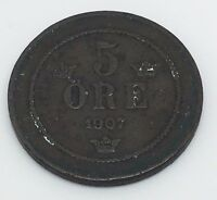 1907 SWEDEN 5 ORE BRONZE COIN