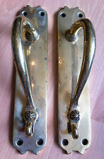 "Original Antique Art Nouveau Pair Large 11"" Brass Bronze Door Pull Handle(GR261)"