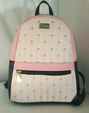 Luv Betsey Johnson Quilted Hearts Pink/black Backpack  travel overnighter