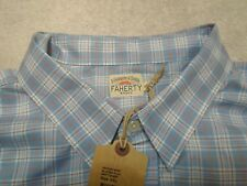 Faherty 100% Cotton Flannel Ventura Blue & Red Plaid Sport Shirt NWT XXL $148
