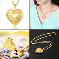 """18K Gold-plated Necklace Pendant heart-shaped box Gift For Women Girls 22"""" Chain"""