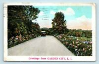 GREETINGS FROM GARDEN CITY, LONG ISLAND, NY - c1930s LINY POSTCARD - OLD CAR  D3