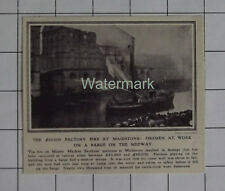 MAIDSTONE Factory Fire Firemen At Work From A Barge On Medway 1909 News Clipping