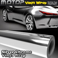 Silver Chrome Mirror Vinyl Wrap Film Car Sticker Decal with Air Bubble DIY CQB