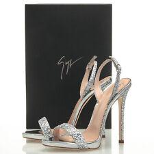 d34bca174 Giuseppe Zanotti Coline Silver Glitter Slingback Sandal Heels - Women's 7.5  US