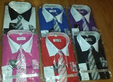 TWO TONE BOYS DRESS SHIRTS WITH TIE, AND HANKIE. THESE BY BERLIONI