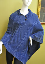 Ralph Lauren Womens Cotton Shawl Indigo Cape Poncho Coat One Size Fits All