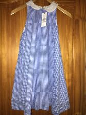 Girls Ralph Lauren Blue Dress Size L Age 12 Checks Sleeveless Pockets New Tags