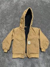 Carhartt Vintage Cargo Tan Denim Hoodie Jacket Youth Xxs 4-5 Workwear
