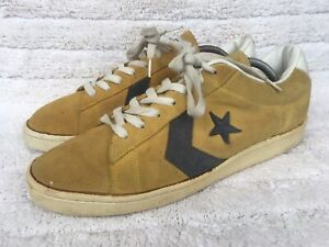 Vintage Converse All Star Yellow Pro Leather MADE IN TAIWAN Size USA 12 |UK 11.5