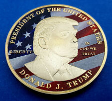 Donald Trump Gold Coin Make America Great Again Stars & Stripes God Bless US New